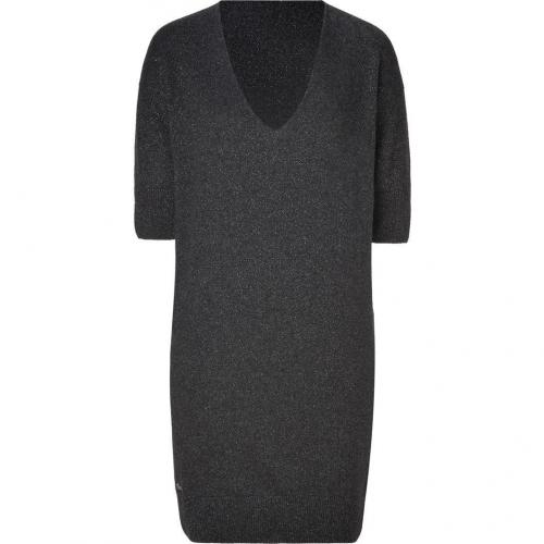 Lacoste Granite/Silver Lurex V-Neck Knit Dress