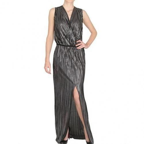 L'Agence Foil Pleated Techno Satin Langes Kleid