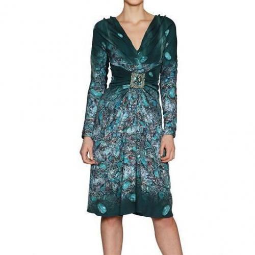 Luisa Beccaria Bedrucktes Juwel Stretch Satin Kleid