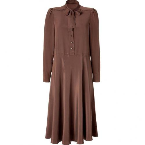 Marc by Marc Jacobs Dark Brown Tie Neck Silk Dress Michaela