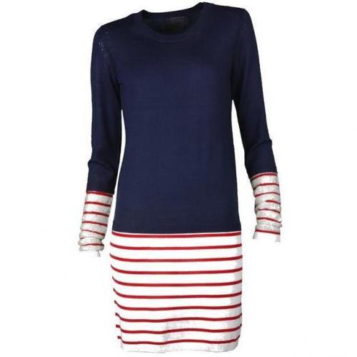 Markus Lupfer Kleid Stripe Dress with Sequin Cuff navy