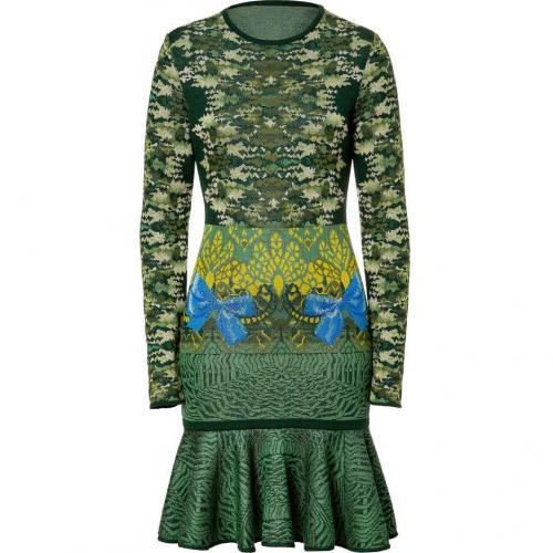 Mary Katrantzou Malachite Expandit Camo Skater Knit Dress