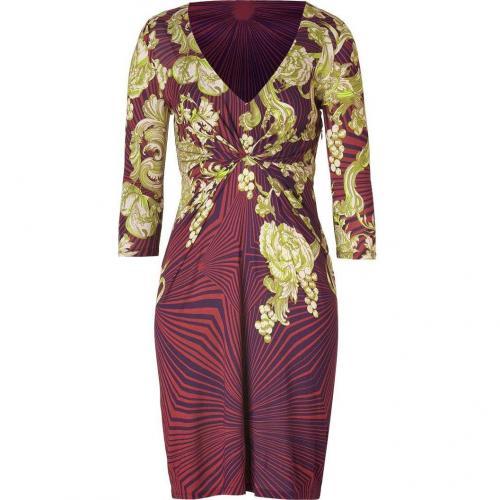 Matthew Williamson Berry/Jade Printed Draped Jersey Dress