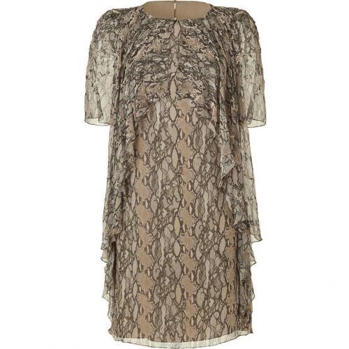 Matthew Williamson Natural Beaded Frill Silk Dress