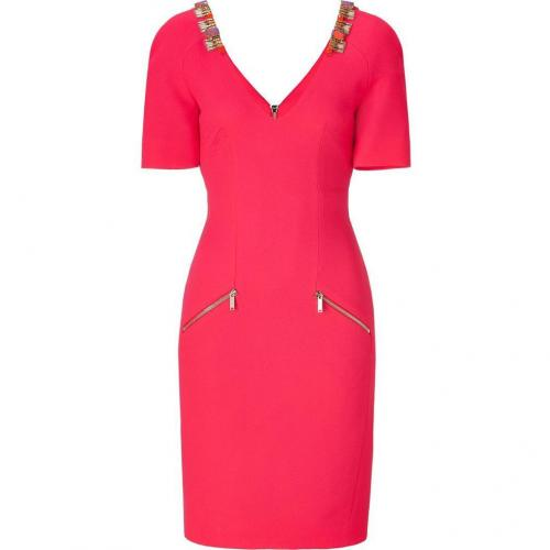 Matthew Williamson Neon Pink Wool Paneled Dress