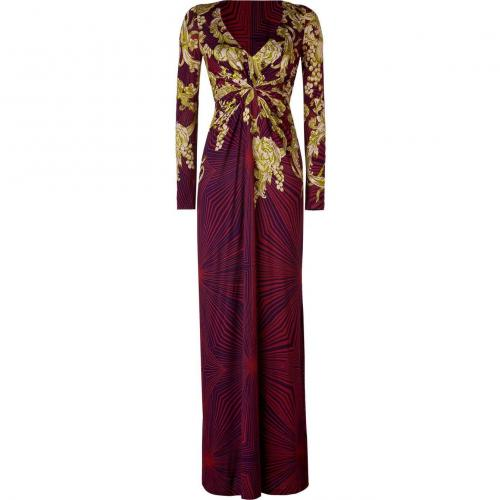 Matthew Williamson Ruby/Jade Drape Front Stretch Cotton Maxi Dress
