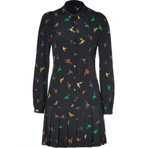 McQ Alexander McQueen Black Hummingbird Print Silk Shirtdress