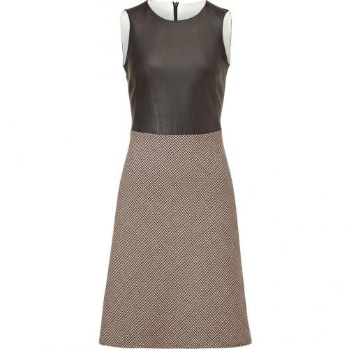 McQ Alexander McQueen Chocolate Leather and Wool-Blend Combo Dress