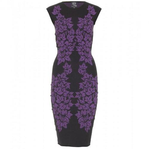 McQ Alexander McQueen Intarsien-Strickkleid Violet Black