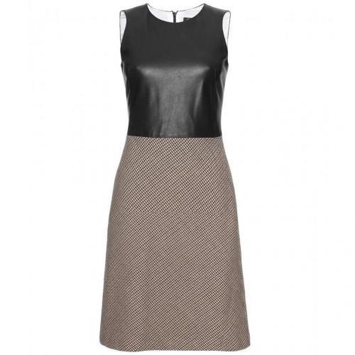 McQ Alexander McQueen Kleid Mit Ledertop Und Hahnentrittmuster