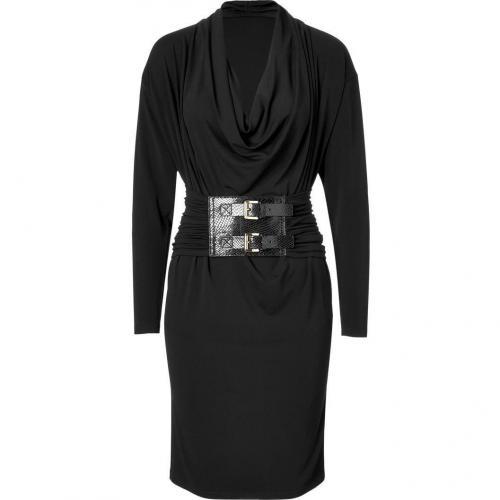 Michael Kors Black Belted Cowl Neck Dress