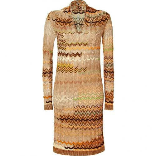 Missoni Honey/Corn Wool-Blend Variegated Knit Dress