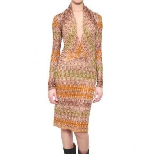 Missoni Viskose Woll Strick Kleid Orange Grün Beige