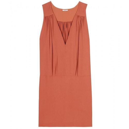 Miu Miu Crêpe Kleid Mit Raffung Orangebraun