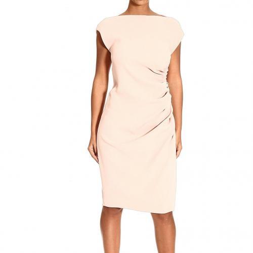 Moschino Sleeveless crepe lateral drape dress