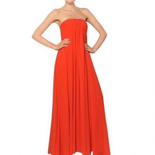 MSGM Eine Schulter Techno Gerorgette Langes Kleid Rot