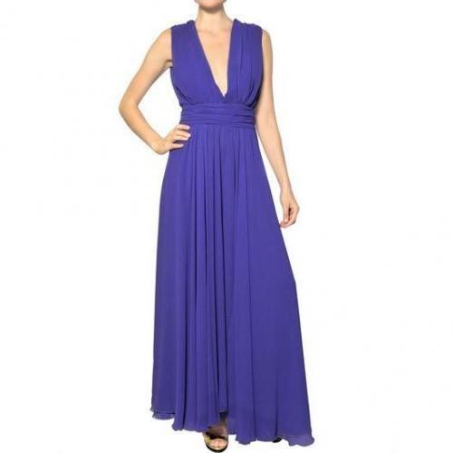 MSGM Techno Gerogette Langes Kleid Violett