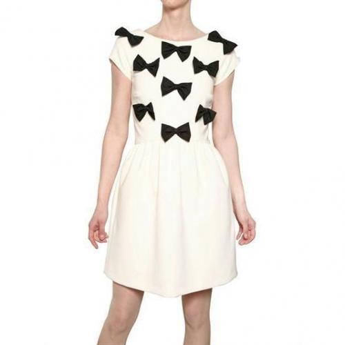 MSGM Techno Stretch Alpaca Kleid Mit Maschen Weiß