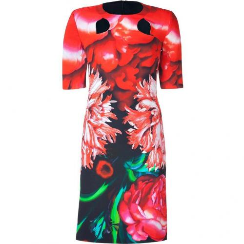 Peter Pilotto Red Carnation Floral Cut-Out Dress