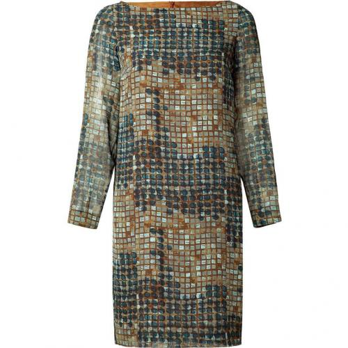 Piazza Sempione Mud/Petrol Printed Silk Dress
