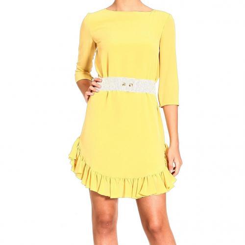 Pinko Kleid Gelb mit weißem Taillenbund