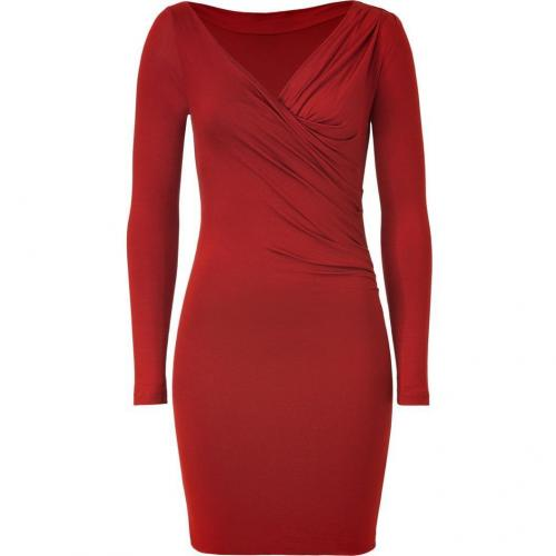 Plein Sud Orient Red Draped Stretch Silk Dress