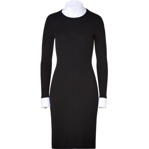 Ralph Lauren Black Black/White Corespun Cashmere Dress