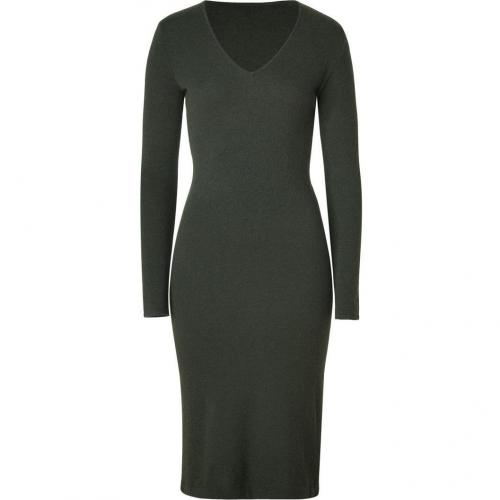 Ralph Lauren Black Loden Cashmere V-Neck Dress