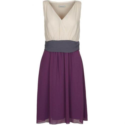 René Lezard Cocktailkleid / festliches Kleid creme grau violett
