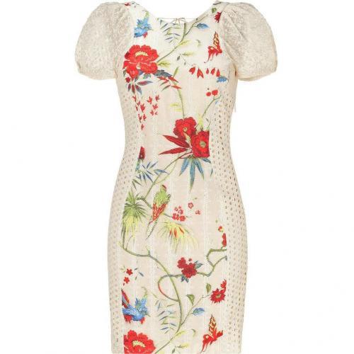 Roberto Cavalli Beige Floral Combo Dress