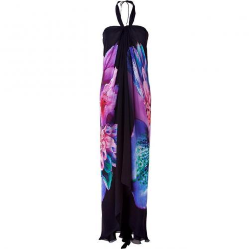 Roberto Cavalli Black Printed Halter Gown