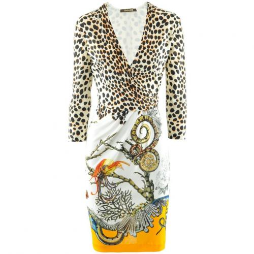 Roberto Cavalli Ecru Leo Multi Print Dress