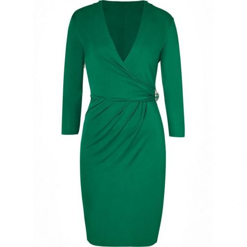 Roberto Cavalli Emerald Green Draped Dress with Brooch