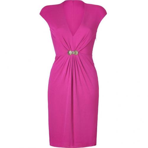 Roberto Cavalli Fuchsia Draped Dress with Brooch