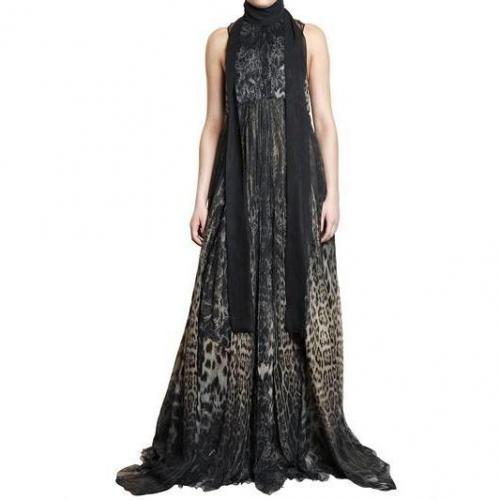 Roberto Cavalli Kleid Print Auf Seiden Chiffon