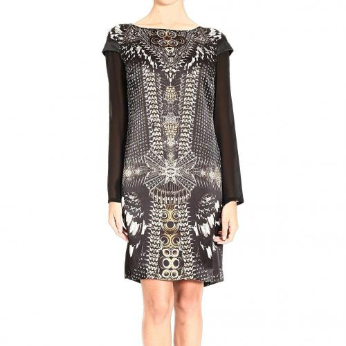 Roberto Cavalli Long sleeve round neck silk print dress