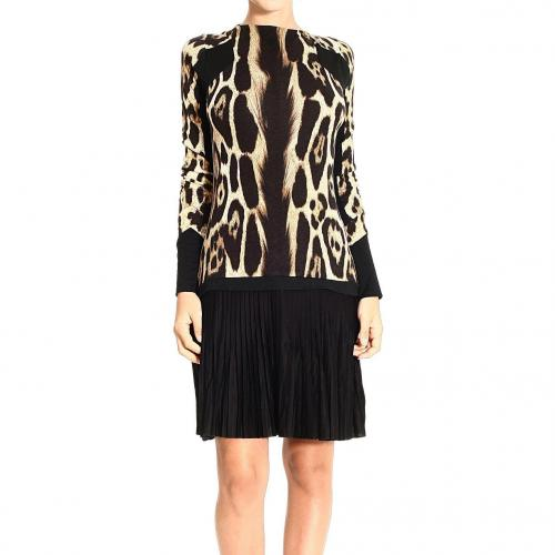 Roberto Cavalli Long sleeve spotted print pleated skirt dress
