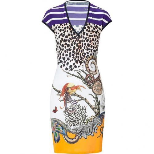 Roberto Cavalli Orange/Blue Multi Snake and Leo Print Dress