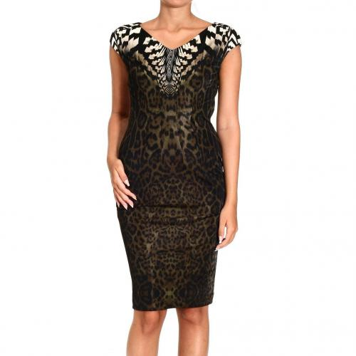 Roberto Cavalli Short sleeve v neck jersey jaguar print dress