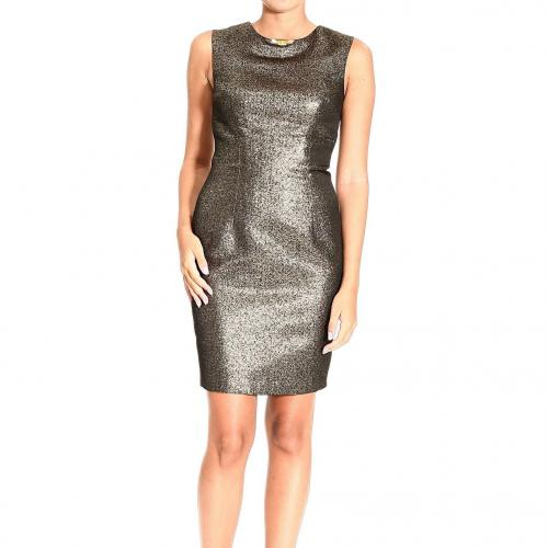 Roberto Cavalli Sleeveless lurex see-through cuts dress