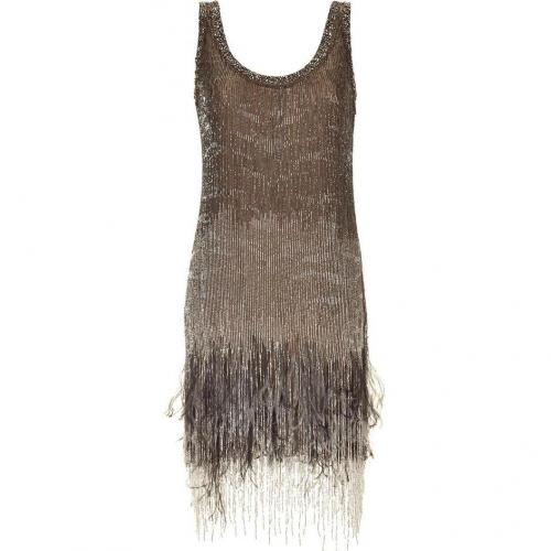 Roberto Cavalli Topaz Beaded Feather Fringed Dress