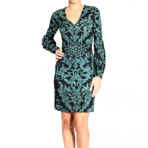 Roberto Cavalli V neck long sleeve jersey sequin print dress
