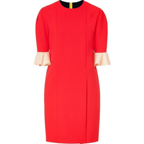 Roksanda Ilincic Red/Navy Colorblock Wool Crepe Dress