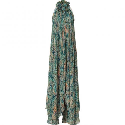 Saloni Blue Forest Print Maxi Dress