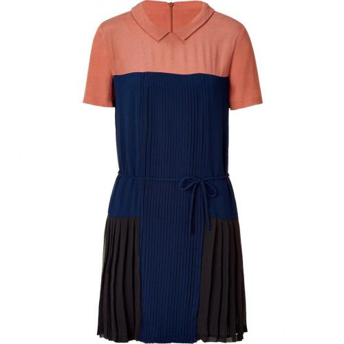 Sandro Navy Multi Color Dress with Belt