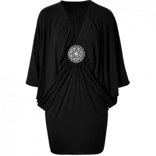 Sky Black Dolman Sleeve Martine Dress with Brooch