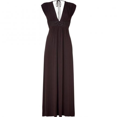 Sky Espresso Long Dress with Decorative Belt