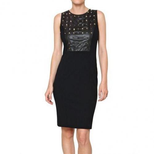 Space Stretch Viskose Kleid Mit Nieten Black
