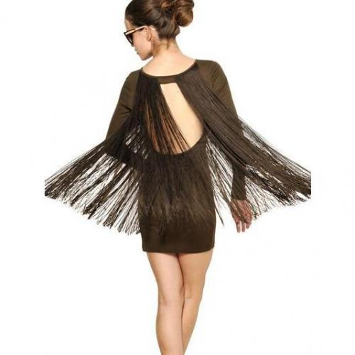 Amazon Baumwoll Jersey Kleid Mit Seidenfransen Rückenfrei