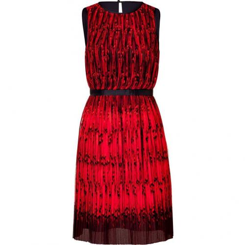 Tibi Red Multi Piroutette Pleated Silk Dress